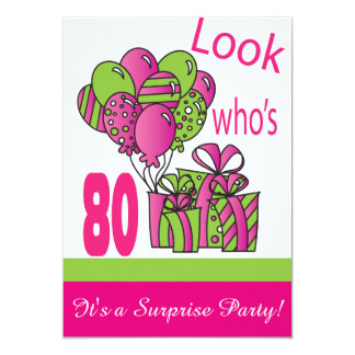 "Look Who's 80   80th Birthday 5"" X 7"" Invitation Card"