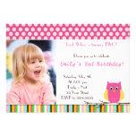Look Whos Owl Birthday Party Invitation Polka Dots