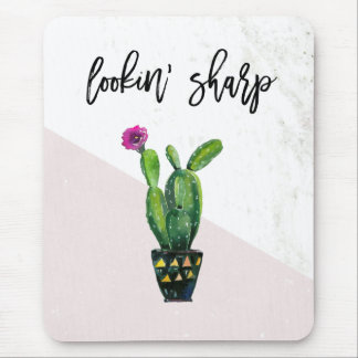 Lookin' Sharp   Blush Pink Marble and Cactus Mouse Mat