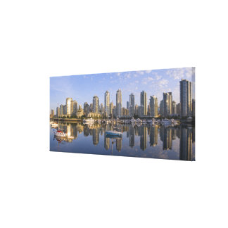 Looking across False Creek at the skyline of 2 Canvas Print
