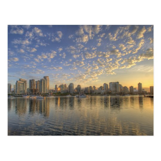 Looking across False Creek at the skyline of