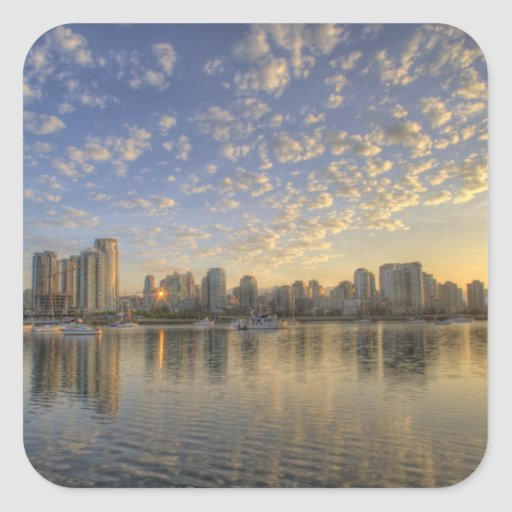 Looking across False Creek at the skyline of Sticker