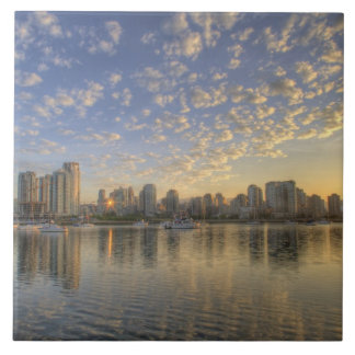 Looking across False Creek at the skyline of Tile