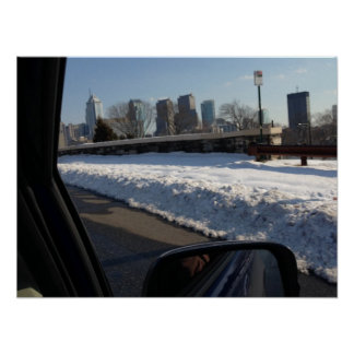 Looking at Philadelphia Through a Car's Window Poster