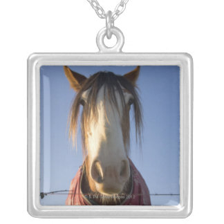 Looking at the camera square pendant necklace