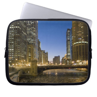 Looking down the frozen Chicago River at dusk. Laptop Sleeve