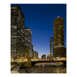 Looking down the frozen Chicago River at dusk. Poster