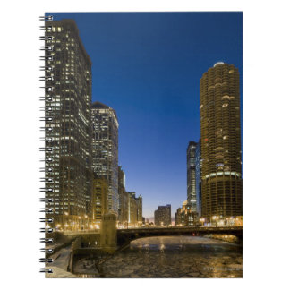 Looking down the frozen Chicago River at dusk. Spiral Notebook