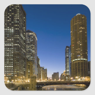 Looking down the frozen Chicago River at dusk. Square Sticker
