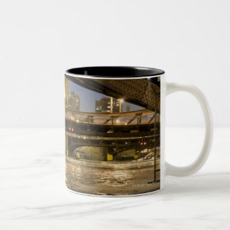 Looking down the frozen Chicago River in Two-Tone Coffee Mug