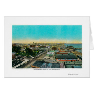 Looking East over Business Section, Long Beach Greeting Card