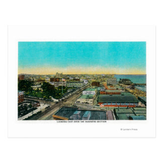 Looking East over Business Section, Long Beach Postcard