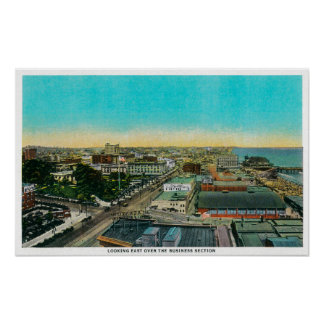 Looking East over Business Section, Long Beach Print