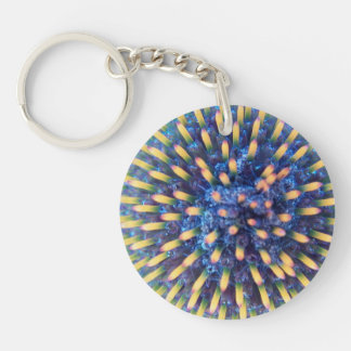 Looking in the Cone Flower Single-Sided Round Acrylic Key Ring