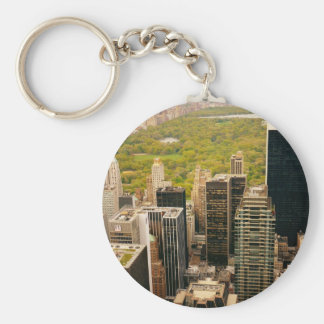 Looking Out At Central Park From Above, NYC Basic Round Button Key Ring