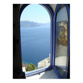 Looking Out in Santorini Postcard