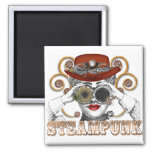 looking steampunked steampunk collage art square magnet