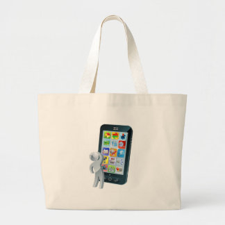 Looking up at phone screen with apps thinking bags