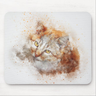 Looking Up Kitty | Abstract | Watercolor Mouse Mat