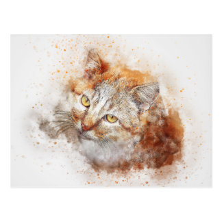 Looking Up Kitty | Abstract | Watercolor Postcard