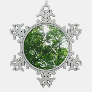 Looking Up to Summer Trees Pewter Snowflake Decoration