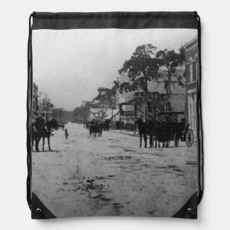 Looking West On Flagler Street Drawstring Bag