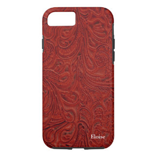 Looks Like Red Tooled Leather Personalized iPhone 7 Case