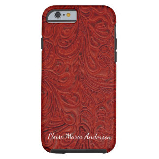 Looks Like Red Tooled Leather Personalized Tough iPhone 6 Case