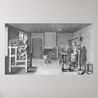 Loom for weaving stockings poster