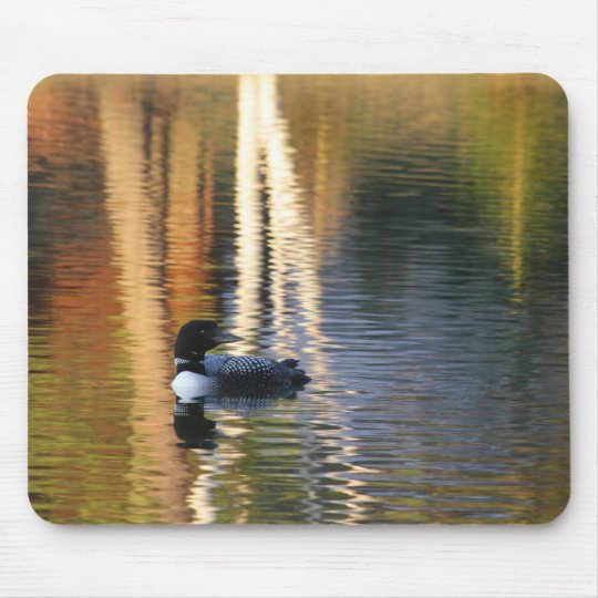 Loon at sunrise mouse mat