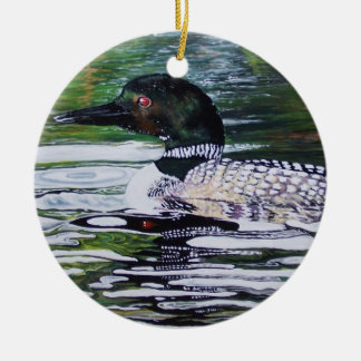 Loon by Susan Oling Round Ceramic Decoration