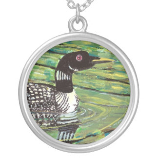 Loon Round Pendant Necklace