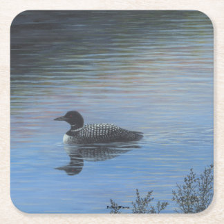 Loon Square Paper Coaster