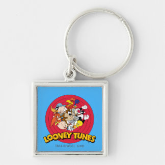 LOONEY TUNES™ Character Logo Silver-Colored Square Key Ring