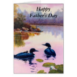 Loons At Twilight Father's Day Card