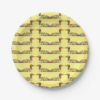 Loons on Yellow 7 Inch Paper Plate