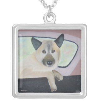 Loopy - Shepherd Mix - Dog Portrait Personalized Necklace