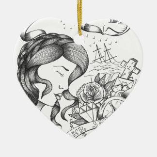 Loose Lips Ceramic Heart Decoration