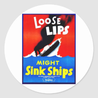 Loose Lips, Might Sink Ships Stickers