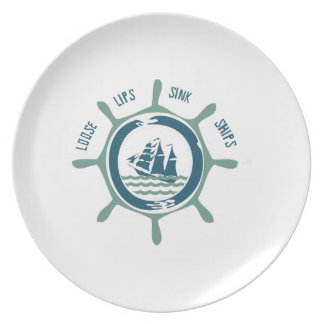 Loose Lips Sink Ships Party Plate