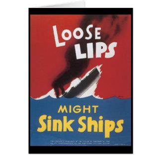 Loose Lips Sink Ships World War 2 Greeting Card