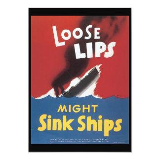 Loose Lips Sink Ships World War 2 5x7 Paper Invitation Card