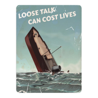Loose Talk Cost Lives WW2 Poster 17 Cm X 22 Cm Invitation Card