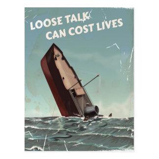 Loose Talk Cost Lives WW2 Poster Postcard