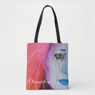 Loosing Color Surreal Rainbow Woman Portrait Art Tote Bag