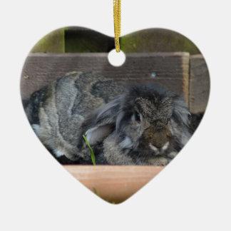 Lop eared rabbit ceramic heart decoration