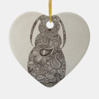 Lop eared rabbit design ceramic heart decoration