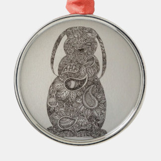 Lop eared rabbit design Silver-Colored round decoration