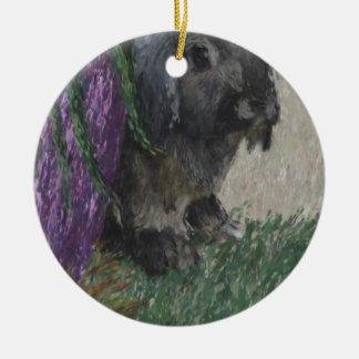Lop eared  rabbit painting round ceramic decoration