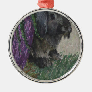 Lop eared  rabbit painting Silver-Colored round decoration